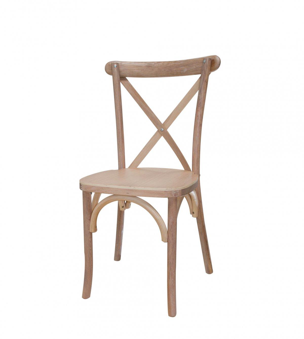 Noleggio sedia Toscana in legno chiaro con schienale